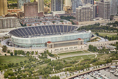 Football Royalty-Free and Rights-Managed Images - Chicagos Soldier Field Aerial by Adam Romanowicz