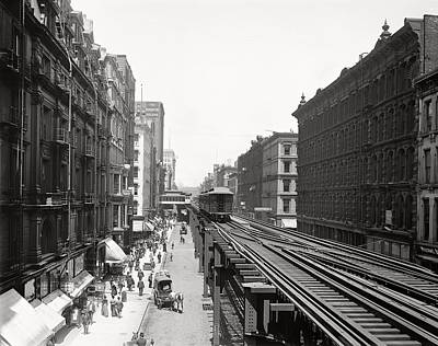 Horse And Wagon Photograph - Chicago's Wabash Avenue  1900 by Daniel Hagerman
