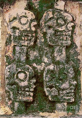 Photograph - Chichen Itza Mayan Art - Four Skulls by Sharon Hudson