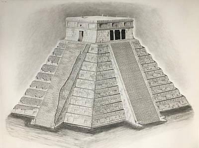 Mayan Drawing - Chichen Itza by Scientila Duddempudi