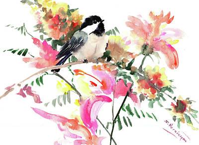 Painting - Chickadee And Pink, Orange, Yellow Flowers by Suren Nersisyan