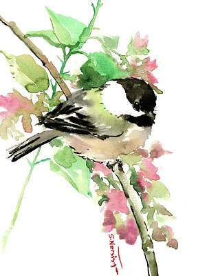 Painting - Chickadee And Spring Blossom by Suren Nersisyan