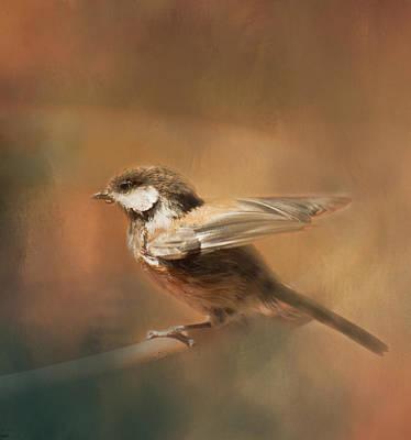 Photograph - Chickadee At Birdbath by Marilyn Wilson