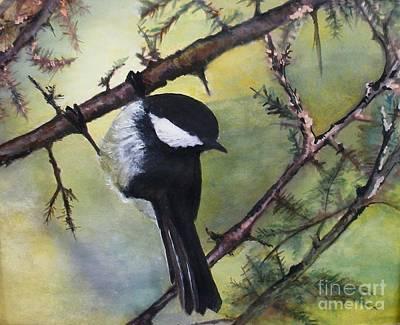 Chickadee Autumn Art Print by Sibby S