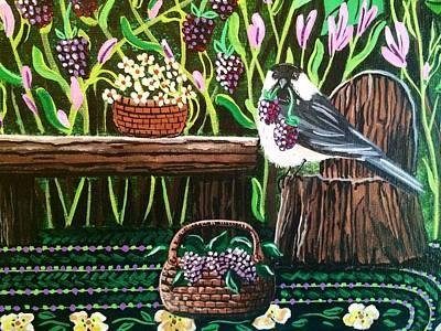 Painting - Chickadee Berries by Jennifer Lake