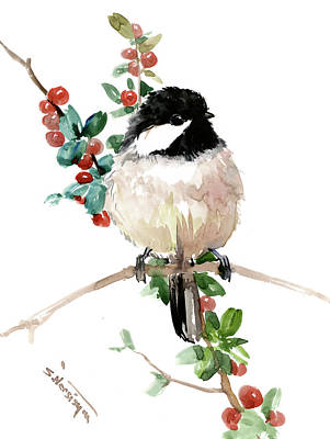Painting - Chickadee Bird Art by Suren Nersisyan