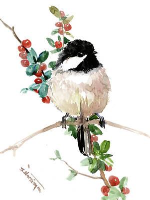 Painting - Chickadee Bird Art by Suren Nersisyan