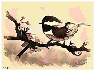 Chickadee Drawing - Chickadee Bird In Color Sketch by Debra Lynch