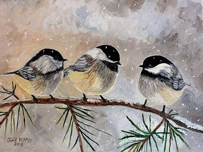 Painting - Chickadee Chat by Julie Brugh Riffey