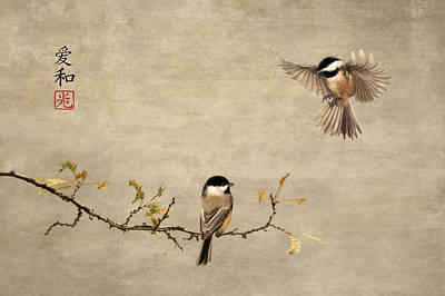 Chickadee Encounter II Art Print