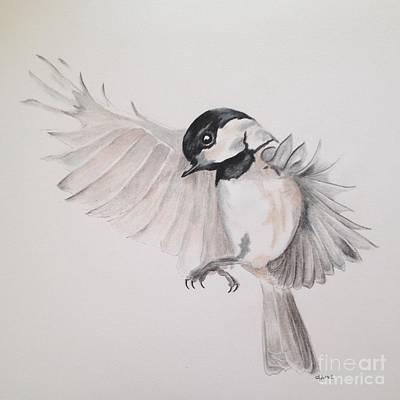 Chickadee Drawing - Chickadee In Flight by Jamie Silker