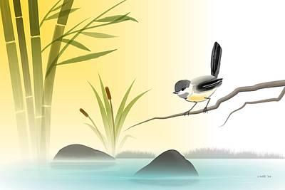 Chickadee Digital Art - Chickadee In Spring by John Wills