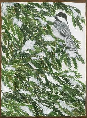 Painting - Chickadee In Winter by Lucinda VanVleck
