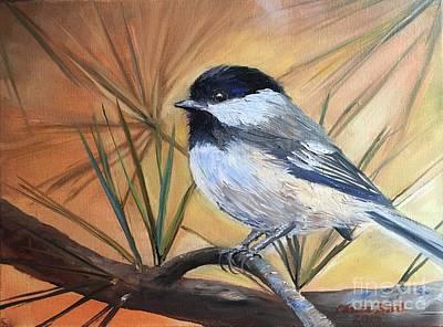 Animals Paintings - Chickadee by Laura Bird Miller