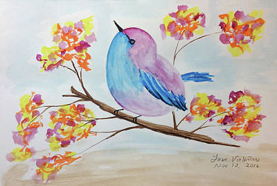 Painting - Chickadee On A Branch With Head Up by M Valeriano