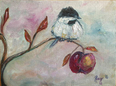 Animals Painting - Chickadee On An Apple Tree by Roxy Rich