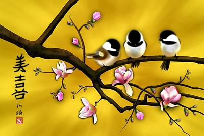 Chickadee Digital Art - Chickadee On Blooming Magnolia Branch by John Wills