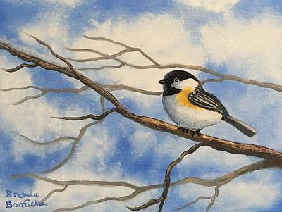 Painting - Chickadee On Branch by Brenda Bonfield