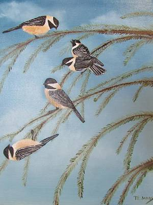 Painting - Chickadee Party by Thomas Janos