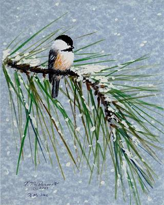 Chickadee Set 8 - Bird 1 - Snow Chickadees Art Print