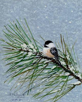 Chickadee Set 8 - Bird 2 - Snow Chickadees Art Print by Kathleen McDermott