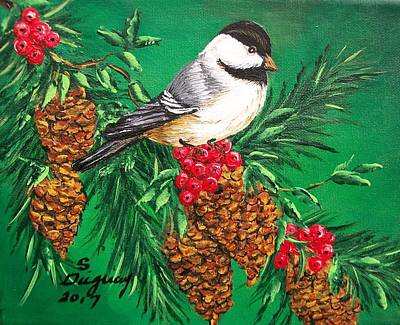 Painting - Chickadee And Pine Cones by Sharon Duguay