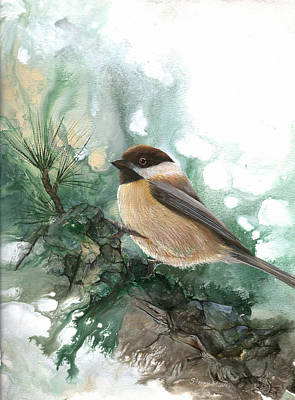 Art Print featuring the painting Chickadee by Sherry Shipley