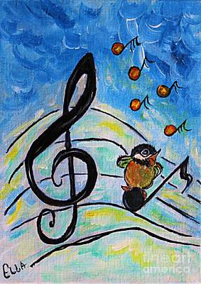 Animals Paintings - Chickadee Song Bird by Ella Kaye Dickey