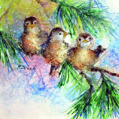Painting - Chickadee Trio by Kathy Braud