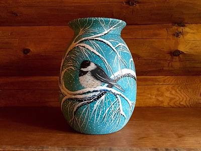 Painting - Chickadee Vase View 3 by Jennifer Lake