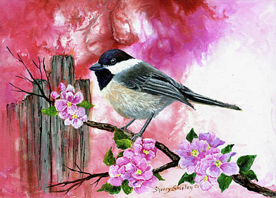 Painting - Chickadee With Apple Blossoms by Sherry Shipley