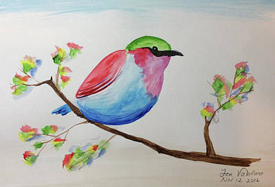 Painting - Chickadee With Green Head On A Branch by M Valeriano