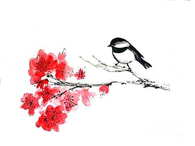 Art Print featuring the painting Chickadee With Plum Blossom by Sibby S