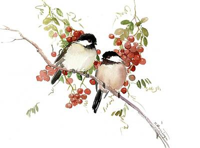 Painting - Chickadees And Berries by Suren Nersisyan