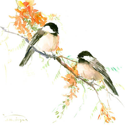 Chickadees And Orange Flowers Art Print by Suren Nersisyan