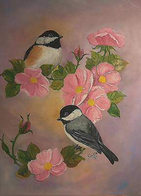 Bicycle Graphics - Chickadees and Roses by Sandra Maddox