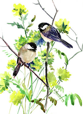 Painting - Chickadees And Spring Blossom by Suren Nersisyan