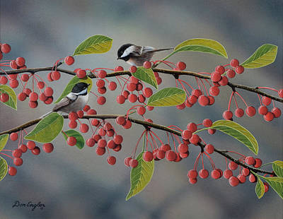 Fruit Tree Art Painting - Chickadees by Don Engler