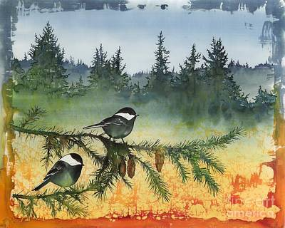 Tapestry - Textile - Chickadees In My Backyard by Carolyn Doe