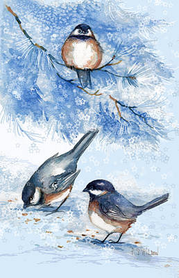 Chickadee Digital Art - Chickadees In Snow by Peggy Wilson