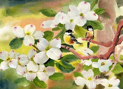 Chickadees In The Dogwood Tree Art Print by Eileen  Fong