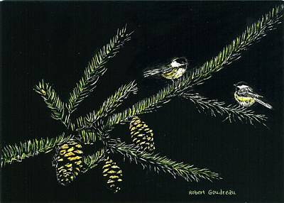 Painting - Chickadees by Robert Goudreau