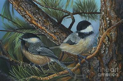 Painting - Chickadees by Rosellen Westerhoff