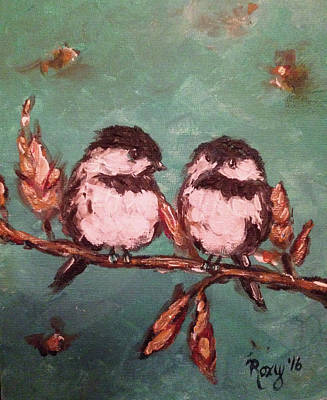 Animals Painting - Chickadees by Roxy Rich