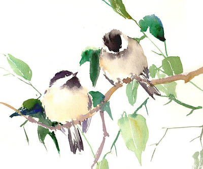 Chickadee Painting - Chickadees by Suren Nersisyan