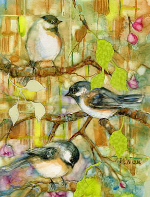 Painting - Chickadees Three by Peggy Wilson