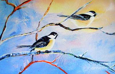 Art Print featuring the painting Black-capped Chickadees Limited Edition Prints 2-20 Set Decor In Wanderlust  by Donna Dixon