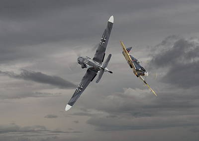 Warplane Photograph - Chicken 2   Me 109 And Spitfire by Pat Speirs