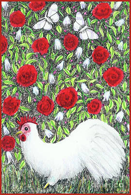 Chicken And Butterflies In The Flowers Art Print