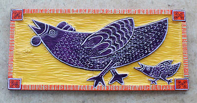 Folk Art Woodcarving Painting - Chicken And Chicken Little by James Neill
